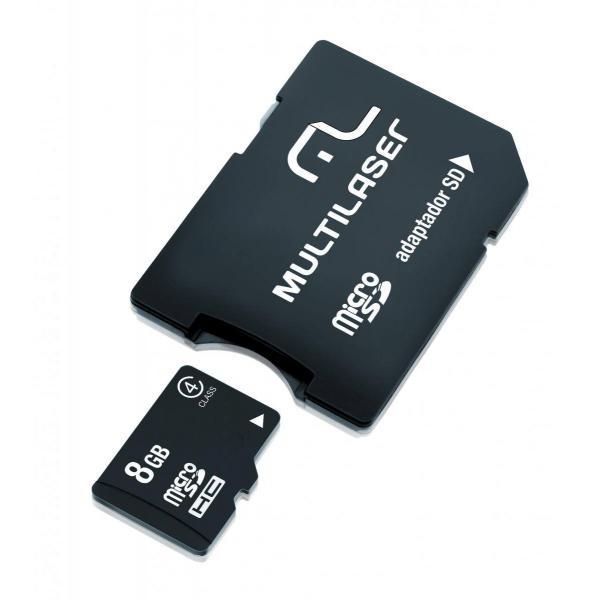 Cartão de Memória Micro SD 8GB + Adaptador SD Multilaser - MC004