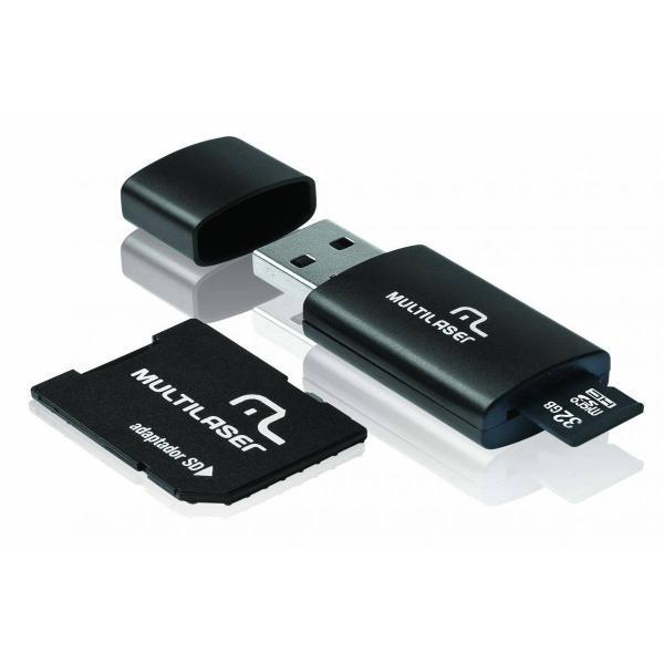Pen Drive 3 em 1 USB MicroSD Card c/ Adaptador SD 32GB Multilaser - MC113