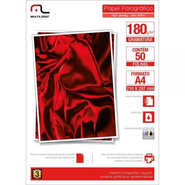 Glossy Paper C/180 Gr Tam. A4 C/ 50 Fls Multilaser - PE031