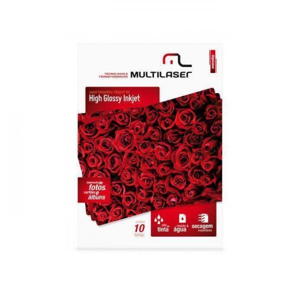 Glossy Paper C/180 Gr Tam. A4 Multilaser C/ 10 Fls - Pe030