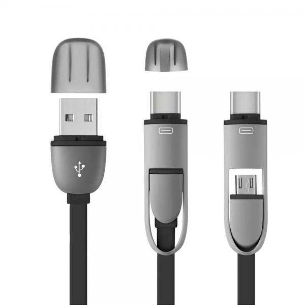 CABO 2 EM 1 MICRO USB COM ADAPTADOR TYPE-C PRETO