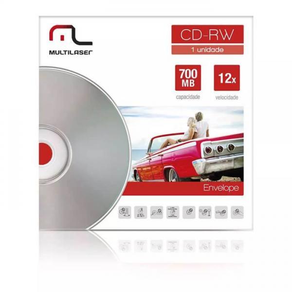 Midia CD-RW Vel. 12X - 1 Un. Envelope Impresso Em Caixa Multilaser CD037